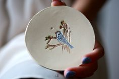 Excited to share the latest addition to my #etsy shop: Ceramic Jewelry Dish White Little Blue Bird Dish Colorful Home Decor Pottery Plate Recycled Box #homedecor #ceramicdish #ringdish #bluebirds