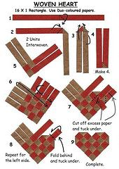 Discover thousands of images about Woven Heart Diagrams Flax Weaving, Paper Weaving, Weaving Art, Weaving Patterns, Basket Weaving, Paper Folding Crafts, Paper Crafts Origami, Valentine Crafts, Christmas Crafts