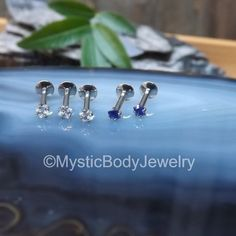 $15.99 16g Labret Post Silver 5/16 Clear Diamond Cut by MysticBodyJewelry