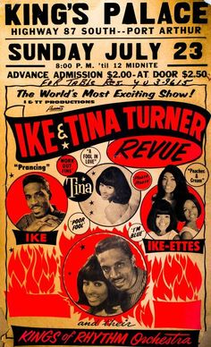 old concert poster Ike And Tina Turner, Ike Turner, Groups Poster, Vintage Music Posters, Rock Concert, Band Posters, Music Photo, Concert Posters, Vintage Advertisements