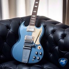 This should help- Gibson SG Jeff Tweedy model in Blue Mist from Sg Guitar, Guitar Notes, Guitar Pics, Music Guitar, Cool Guitar, Playing Guitar, Acoustic Guitar, Gibson Sg Standard, Guitar Online