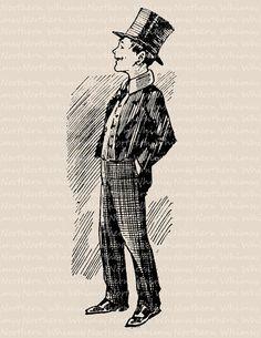 Boy in Suit and Top Hat - Vintage Fantasy Clip Art Image – Digital Stamp - Printable Transfer Graphic – instant download clipart - CU OK