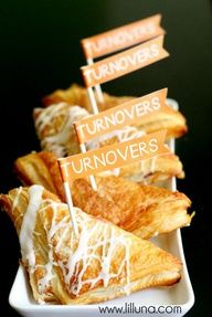 Football Party snack ideas - would be cute with TURNOVERS printed inside a red circle with a line through it (NO turnovers)