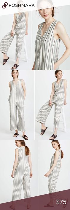 9987be66a8fe Madewell Retro Linen Button Down Striped Jumpsuit Crafted in textural  stripes