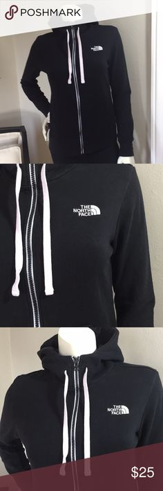 "North Face Black Zip Up Hoodie Black cotton zip up hoodie.    I have never worn this hoodie, but it has been washed once.    80% Cotton 20% Polyester  Bust 19"" North Face Tops Sweatshirts & Hoodies"