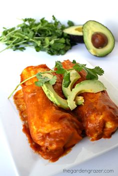 Black bean avocado enchiladas with homemade enchilada sauce (vegan and gluten-free)