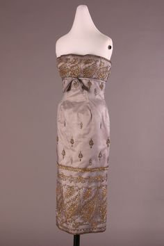 Bob (Antoine) Bugnand Evening dress - France 1958. The embroidery on this dress was  inspired by the French Empire period