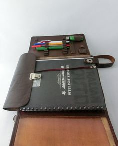 Vintage brown leather military bag