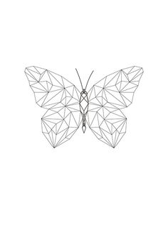 Stylish print with a butterfly in geometric forms