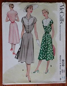 1951 McCall's Printed Pattern 8510 Woman's Summer Dress, Bust 30