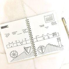 Bullet journal weekly layout, linear calendar, unique date headers, minimalist date headers, open bullet journal layouts, amusement park drawing. @mugglebornlettering