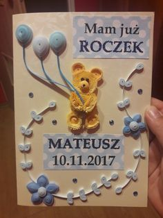 My quilling card with teddy bear