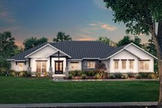 This one-story, hill country home plan proudly delivers a grand curb appeal with a stone trim and timber-frame gable porch, while dark window sashes and a metal roof add a modern edge to the traditional style. Spacious service areas in this home can accommodate even the most active families, while an open floor plan creates a comfortable space for everyday living.A vaulted ceiling in the great room rests above a fireplace with surrounding built-ins, and a sizable kitchen island provides… House Plans One Story, Best House Plans, House Floor Plans, Hill Country Homes, Country House Plans, Single Story Homes, One Story Homes, Craftsman Style House Plans, Farmhouse Plans