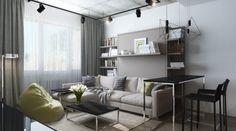 Kleine Wohnung einrichten -30qm-couch-hell-industrial-design-strahler