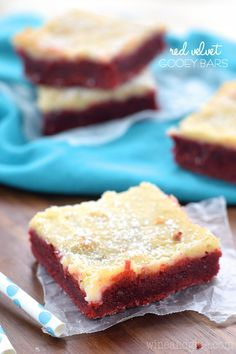 These Red Velvet Gooey Bars are an absolute dream come true.  They are my new favorite way to eat red velvet, and they are going to be yours too!