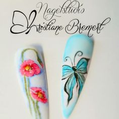 #Nails #Nailart #Naildesign #Mustertip #Aquarell #Poppie #Mohnblume #Schmetterling #Butterfly