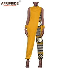 jumpsuits for women on sale at reasonable prices, buy 2018 female clothes AFRIPRIDE private custom jumpsuit for women sleeveless ankle length by pure cotton casual jumpsuit from mobile site on Aliexpress Now! Latest African Fashion Dresses, African Print Fashion, Africa Fashion, African Jumpsuit, Ankara Jumpsuit, African Attire, African Wear, Rompers Women, Jumpsuits For Women
