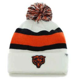 717af8b1365  47 Brand White Chicago Bears Breakaway Knit Hats Caps with Pom