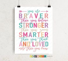 Winnie the Pooh quote Printable wall art You Are Braver Than You Believe stronger smarter and loved, DIY girl pink teal nursery room decor Decorating Toddler Girls Room, Diy Room Decor For Girls, Baby Girl Nursery Decor, Teen Room Decor, Nursery Room Decor, Diy For Girls, Teal Nursery, Kids Decor, Bedroom Decor