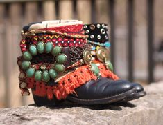 colorful tribal boho boots from TheLookFactory on Etsy