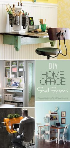 DIY Home Office (for small spaces)  Ideas  Tutorials! I love that orange one!