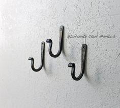 Set of 3 rustic wall hooks, iron hooks, home decor, blacksmith made hook, decorative metal hook, black metal hook, kitchen hooks, pot rack