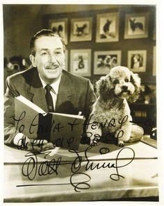 Movie/TV Memorabilia:Autographs and Signed Items, Walt Disney Autographed Photo. A b&w x photo of Disneywith a poodle, inscribed to actor Henry Calvin and his wife a. I Love Dogs, Puppy Love, Cute Dogs, Walt Disney, Disney Dogs, Poodle Cuts, Vintage Dog, Dog Behavior, Training Your Dog