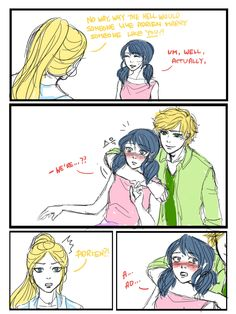 I drew more fanart for Korean twitter headcanon storiesThe premise for this one was'Adult Adrien and Marinette are forcibly married because papa Agreste (who is not Hawkmoth in this scenario) reckons Marinette is a suitable successor to his fashion empire and wants to keep it in the family'. The explanation for the comic-y part is Chloe finds out about the marriage and bullies Marinette about it relentlessly, so Adrien steps up and decides to put a stop to it in his own way. :PI love the…