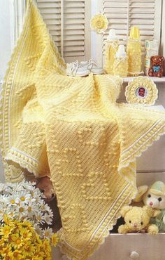 Treasured Heirlooms Crochet catalog of baby afghan and gift pattern booklets, magazines, and leaflets: You Are My Sunshine afghan and nursery set Baby Afghan Crochet, Manta Crochet, Baby Afghans, Knit Crochet, Baby Blankets, Afghan Patterns, Crochet Patterns, Crochet Crafts, Crochet Projects