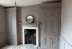 love this, 2 integrated armoires painted grayish prune like wall, one on each side of bedroom fireplace Alcove Cupboards, Built In Cupboards, Bedroom Cupboards, Grey Cupboards, Painted Cupboards, Cupboard Doors, Georgian Interiors, Georgian Homes, Victorian Homes