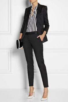 Stella McCartney | Iris wool-twill blazer, pants and bag, Equipment top, and Gianvito Rossi shoes.