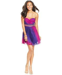 Sequin Hearts Juniors' Ombre Strapless Dress - Juniors Dresses - Macy's