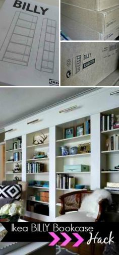 Using billy bookcases to make a 'built in feel' bookcase wall. Beautiful, especially with the lights!