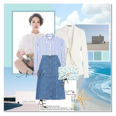 """""""Today sky is so blue"""" by rainie-minnie ❤ liked on Polyvore featuring Maison Margiela, Equipment, M.i.h Jeans, Chanel, Gianvito Rossi and LAFCO"""