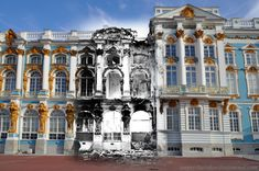 Time-Warp Photos Show Cities In the Past and Present: The Catherine Palace, summer residence of the Tsars (after a fire during the siege of Leningrad), St. Photo composite by Sergie Larenkov. Catalina La Grande, Montage Photo, A Moment In Time, Belle Villa, Time Warp, Imperial Russia, Vintage Photographs, Old Pictures, Time Travel
