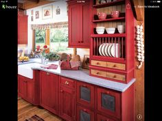 Not feeling the red but this kitchen setup is beautiful!