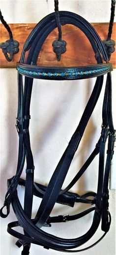 Blue crystal 17 inch black padded leather dressage bridle. FREE shipping in the