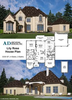 The Lily Rose small luxury house plan is elegant and provides unlimited room to grow! The master option and optional living above the garage is ideal for multi-generational families. Rose House, European House Plans, Modern House Plans, Small House Plans, Two Story Foyer, Jack And Jill Bathroom, Ranch House Plans, Cottage House Plans, Craftsman House Plans