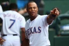 400 and counting -        Adrian Beltre of the Texas Rangers celebrates in the dugout after hitting his 400th career home run against the Cleveland Indians May 15 in Arlington, Texas. Cleveland won 8-3. -  © Ronald Martinez/Getty Images