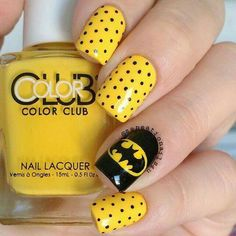 17 Trendy Yellow Nail Art Designs for Summer: Batman nails: (today) Batman Nail Designs, Batman Nail Art, Superhero Nails, Gel Nail Designs, Batman Superhero, Fancy Nails, Love Nails, Diy Nails, Pretty Nails