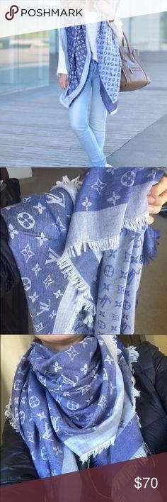 "Blue scarf New blue scarf. Price reflects🚫measurements 56""x56. Gorgeous Louis Vuitton Accessories Scarves & Wraps"