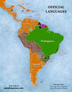 The language situation in South and Central America may seem simple—Brazilians speak Portuguese, and the rest speaks Spanish, right? The situation in South America is quite Columbia South America, South America Map, Central America, Geography Map, World Geography, Latin America Map, South American History, Portuguese Language, How To Speak Spanish