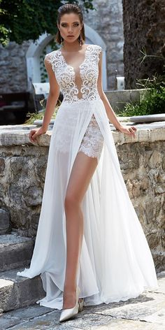 30 Lace Bridal Gowns Of Your Dream ? lace bridal gowns deep v neckline lace top beach with sexy slit : 30 Lace Bridal Gowns Of Your Dream ? lace bridal gowns deep v neckline lace top beach with sexy slit Sexy Wedding Dresses, Wedding Bridesmaid Dresses, Bridal Dresses, Short Dresses, Cocktail Wedding Dress, Wedding Rompers, Short Lace Wedding Dress, Wedding Lace, Wedding Bells