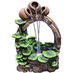 "Pots and Water Lilies LED 22"" High Floor Fountain (315 AUD) ❤ liked on Polyvore featuring home, outdoors, garden fountains, green, outdoor patio fountains and outdoor garden fountains"