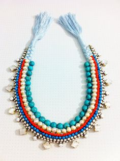 Ethnic Statement Necklace Rhinestone Jewelry by KuallaJewellery
