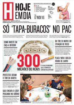 Capa do dia 17/11/2016 #HojeEmDia #Jornal #Notícias #News #Newspaper