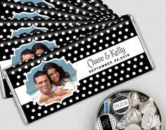 Wedding favors in this adorable polka dot style will be a sweet addition to your candy buffet. Choose your wedding colors to coordinate with your reception decorations and personalize with your names, wedding date and photo. The stickers on the KISSES candy look great in glass bowls or metal tins on the buffet table.