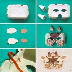 Make your own giraffe mask out of an eggbox