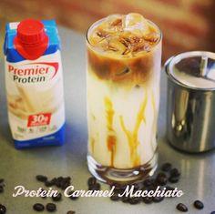Ingredients: Sugar-free Caramel Syrup 2 shots of Espresso  1 Premier Protein…