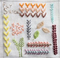 Fly Stitch--Love this idea to practice the different ways to make a stitch to show what it can do. Back into hand embroidery after a long lapse and I enjoy it so much!